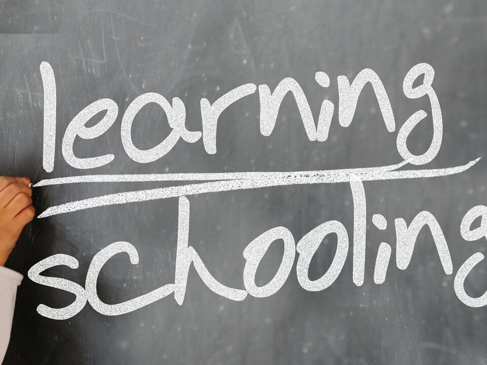 learning and schooling words on blackboard