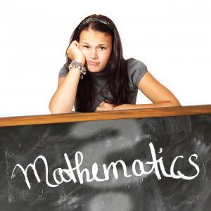 Mathematics word on a black board