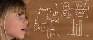 Girl with mathematics formula