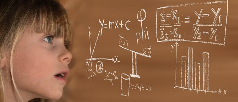 Girl with mathematics formula