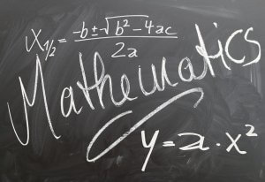 Mathematical formula on blackboard