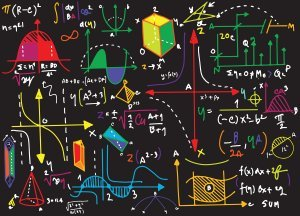 Physics formulas on blackboard