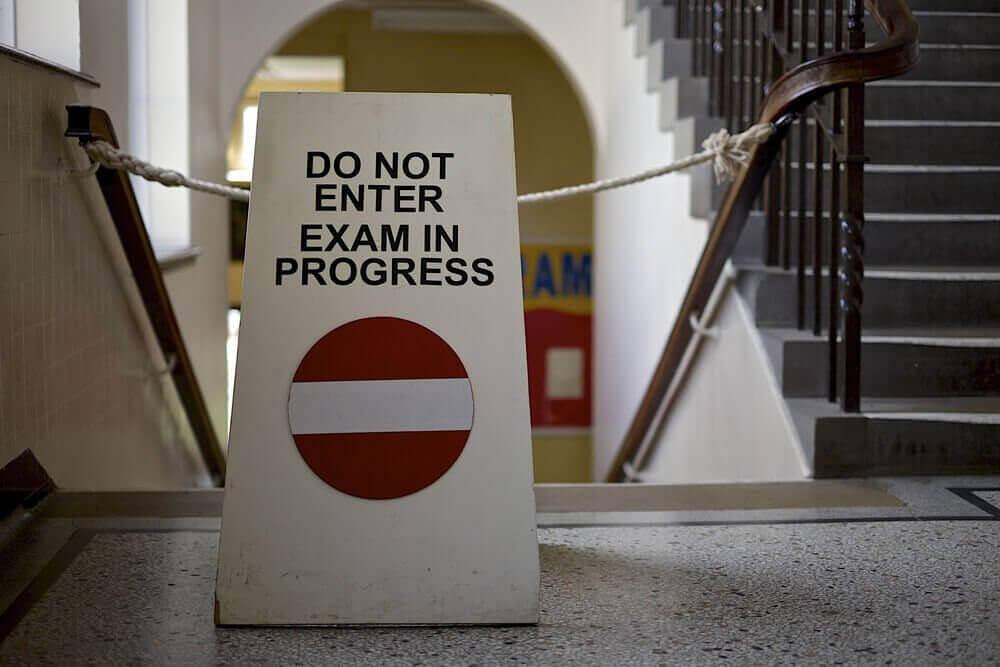 Exams in progress signage