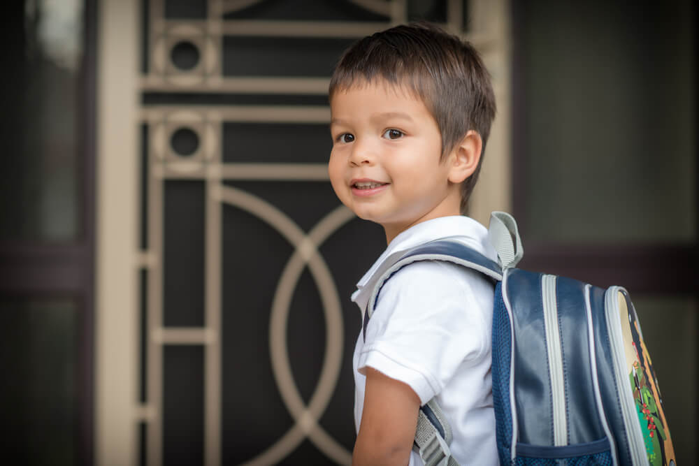Asian boy first day of school