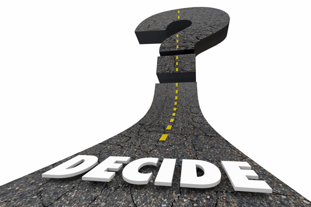 Road with decide word