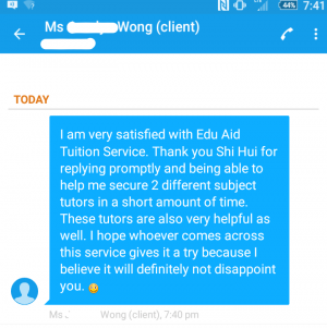 Testimonial by Ms Wong