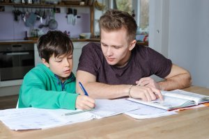 Tutor teaching student Math