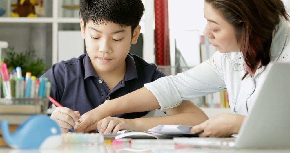 Tutor teaching a student